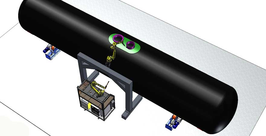 automated welding line for tank cars