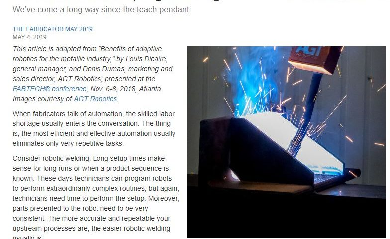AGT's appearance in the magazine: THE FABRICATOR